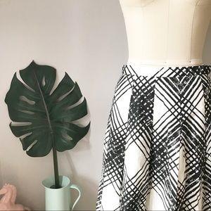 Talbots • Brushstrokes A-Line Pleated Cotton Skirt